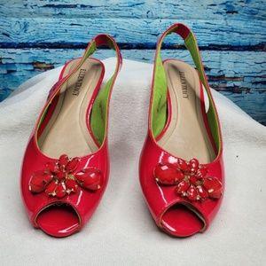 Ellen Tracy Pink Peep Toe Flats Size 7